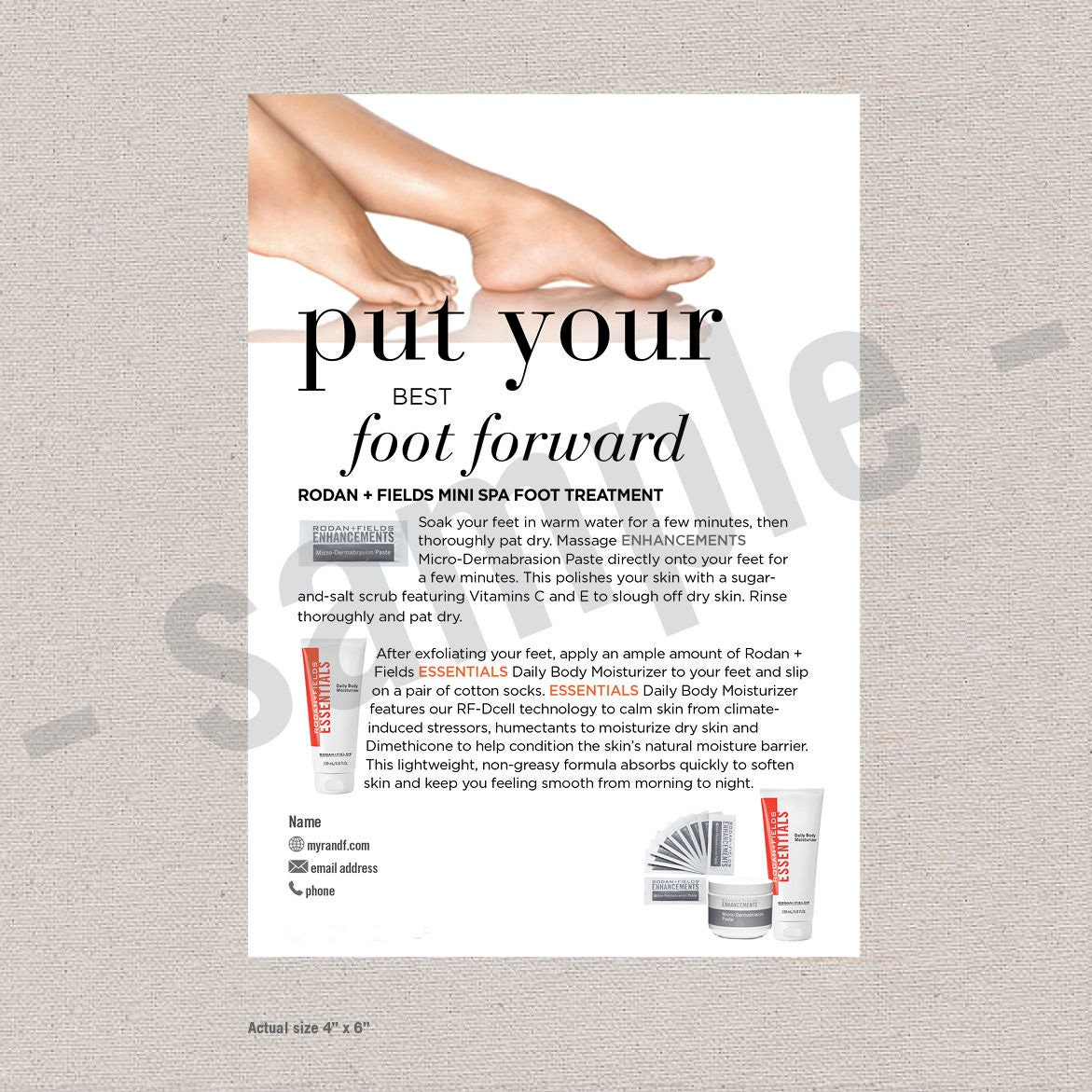mini foot spa postcard flyer editable digital file etsy