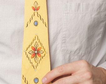 1950s Tie // Rockabilly Painted Tie // Hand Painted Tie // 50's Tie // Rockabilly Style Tie