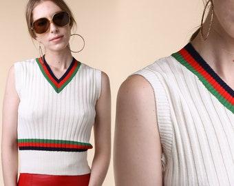 1960's Sweater Vest / Vintage Mod / English Village Sweater Vest / Vintage Tennis Vest / Fake Gucci Vest