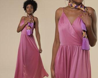 1970's Prom Dress // Pleated Silky 70s Maxi Dress // Retro Style Party Dress // 90s Summer Maxi Dress