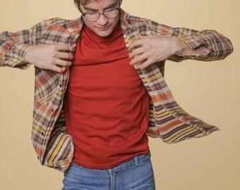 SALE 1970's Flannel // 70s Plaid Flannel with Contrasting Stripes // Seventies Grunge // Lumberjack // Vintage Eddie Bauer Style