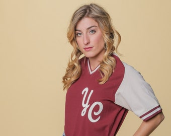 SALE Vintage Baseball Jersey // 70s Maroon & Cream Tee // YC Sports Tee // Number 5 Jersey // V-neck Burgundy Jersey // Baseball Costume