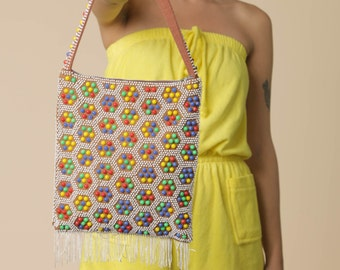 "SALE 70's Candy Dot Bag // Vintage Beaded Bag with Colorful Beads // Vintage Crossbody Geometric Fringe Bag // ""Candy"" Beaded Bag"
