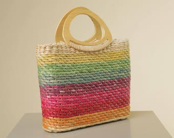 Rainbow Taffata Handbag // Vintage Woven Retro Beach Bag with Wooden Handles // Multi-color Boho Purse //Summer Handbag// Capeilli Brand Bag