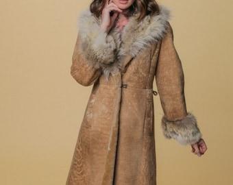 Vintage 70s Penny Lane Wool & Fur Jacket // Long Tan Jacket // 60s, 70s Style // Warm Fuzzy Wool Lined Coat