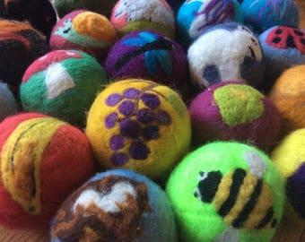 Alphabet felted balls
