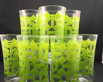Mod 1970s drinking glasses by Libbey, 12 Oz size, set of seven (7) with Green Basketweave Pattern