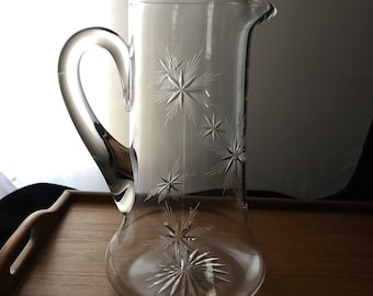 Pitcher with Flared Base and Wheel-Cut Star Pattern, Elaborate Stars, Cocktails, Mixed Drinks, Iced Tea, Sweet Tea, Lemonade, 1 1/2 Quart