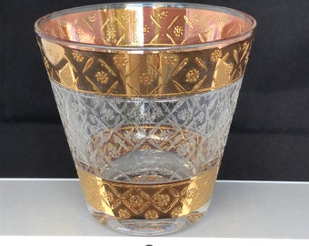 Vintage Old-Fashioned Double Rocks glasses with Gold Stripes, Set of Eight (8)