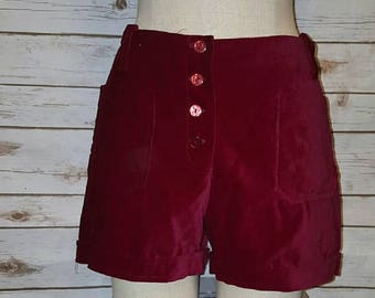 Vintage, 60's, high waist/ wine red velvet shorts, Medium