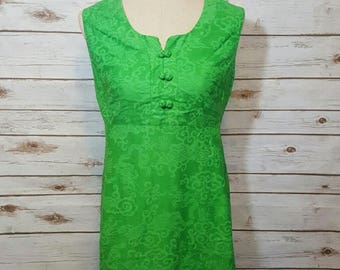 Vintage, 1960's, Evelyn Pearson lounge dress/ kelly green/ asian inspired/ medium