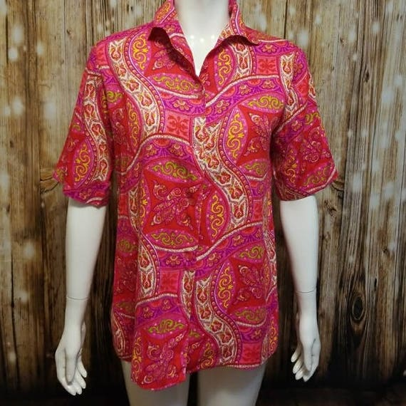 Vintage, 60's, psychedelic print leisure blouse, L