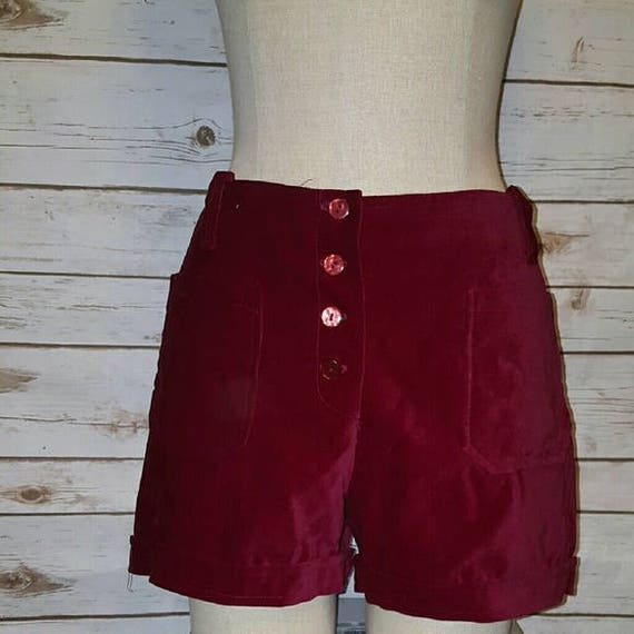 Vintage, 60's, high waist/ wine red velvet shorts,