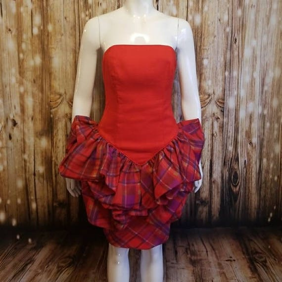 Vintage, 80's, Barboglio red ruffled plaid peplum