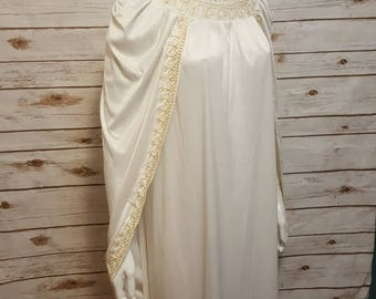 VIntage, 60's/70's, White cloak dress, gold embroidery, OOAK, Large
