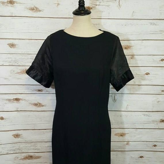 Vintage, 70's,  Black mod shift dress w/ sheer sle