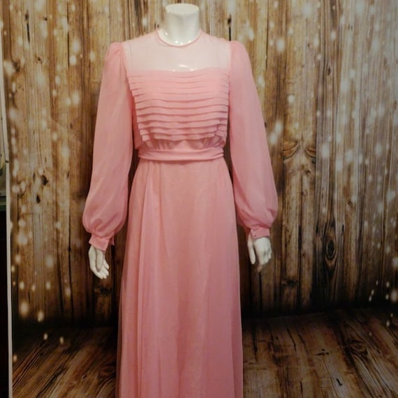 Vintage, 50's/60s's, Pink chiffon formal gown, Sma