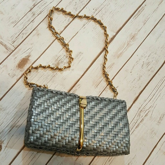 50's Silver woven purse with gold accents/ evening