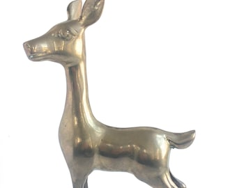 Large Brass Deer Figurine - Large Brass Deer Statue - Brass Animal Figurine - Mid Century Modern - Brass Woodland Animal Figurine