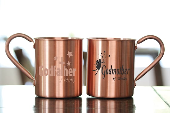 Items Similar To Custom Engraved Godparents Copper Mug Set