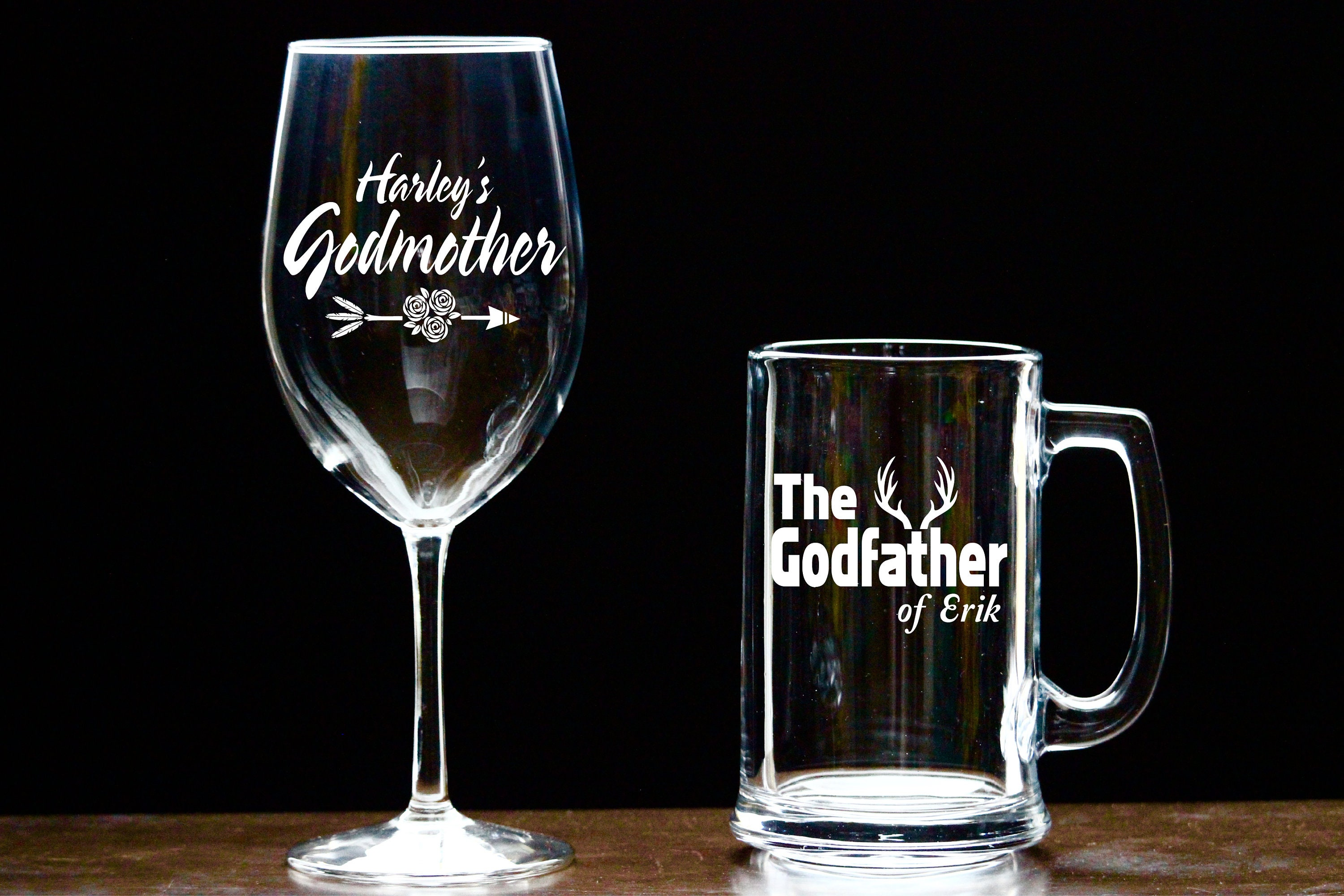Custom Engraved Godmother Wine Glass Godfather Beer Mug