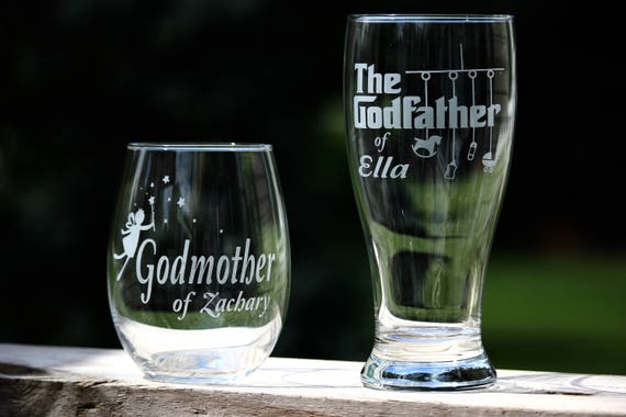 Custom Engraved Godmother Wine Glass Godfather Beer Glass Set