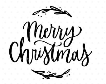 Merry Christmas SVG, Christmas SVG file, Christmas clipart, Hand lettered svg, Svg Commercial use, Winter svg, Silhouette & Cameo