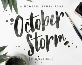 Modern Brush Font October Storm Handwritten Script Download Hand Lettered Digital Ink Type Watercolor