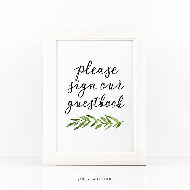 picture about Printable Guest Book referred to as Printable guestbook signal, Environmentally friendly leaves, Wedding day signal printable occasion signal, Wedding day print, Visitor e-book indicator, Marriage ceremony decor, Be sure to indication print