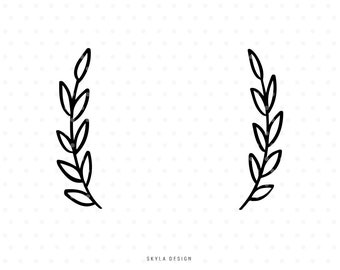 Laurel leaves Svg cutfile wreath branch clipart for cricut and silhouette