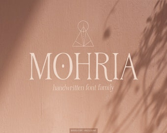 Mohria serif font family & boho art