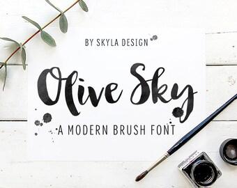 Olive Sky modern brush font