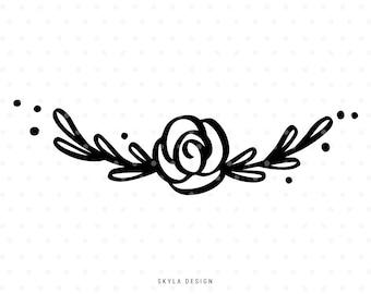 Rose Svg, Floral svg cut file, Flower Svg, Floral clipart, Wreath Svg, Flourish Svg, svg cutfile, svg cut file for cricut, silhouette