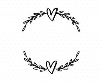 Heart laurel wreath svg cut file