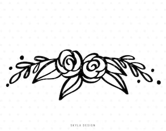 Floral svg cut file, Rose Svg, Floral clipart, Flourish Svg for Cricut & Silhouette
