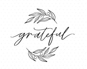 Grateful olive branch wreath clipart, Wreath svg cut file, Flourish Svg for Cricut & Silhouette
