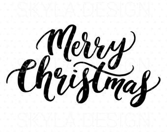 Merry Christmas SVG, Christmas SVG file, Christmas clipart, Printable quote, Printable wall art, Hand lettered svg, Christmas quote