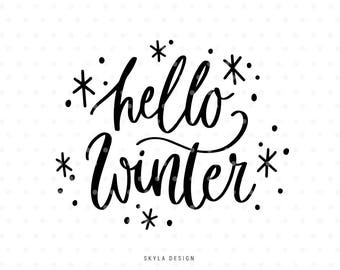 Hello Winter Svg, Merry Christmas SVG, Christmas SVG file, Christmas clipart, Hand lettered svg, Svg Commercial use, Winter svg