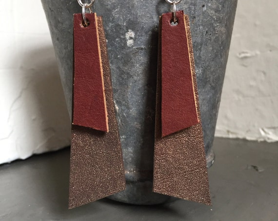 Bronze Painted Leather Earrings