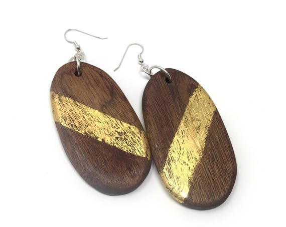 Sapele, Gold Leaf, and Sterling Silver Earrings