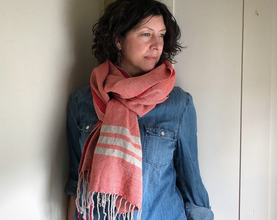 Handwoven Linen and Cotton Scarf with Stripes