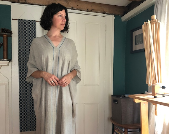 Handwoven Linen Caftan with Indigo Dyed Stripes