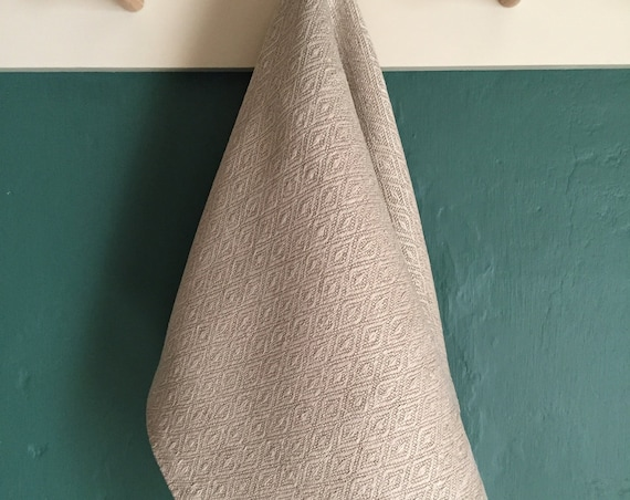 Handwoven Diamond Pattern Linen Hand Towel