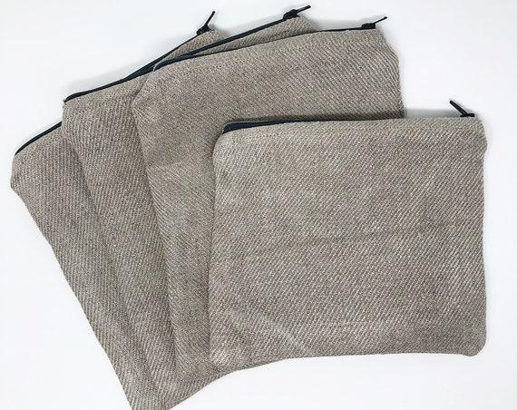 Handwoven Linen Zipper Pouch
