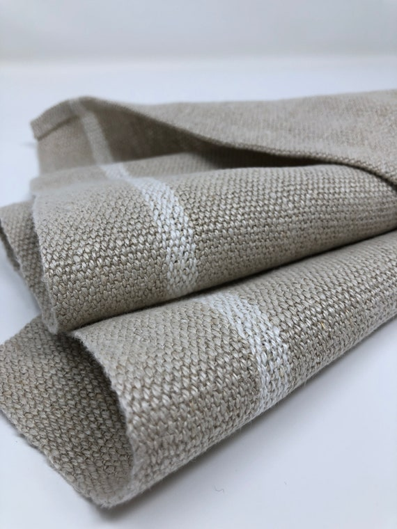 Handwoven Linen and Hemp Hand Towel Natural with White Stripes