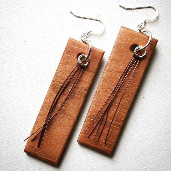 Jatoba Wood, Copper, and Sterling Silver Earrings