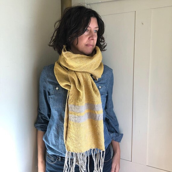 Handwoven Hemp, Cotton, and Linen Scarf