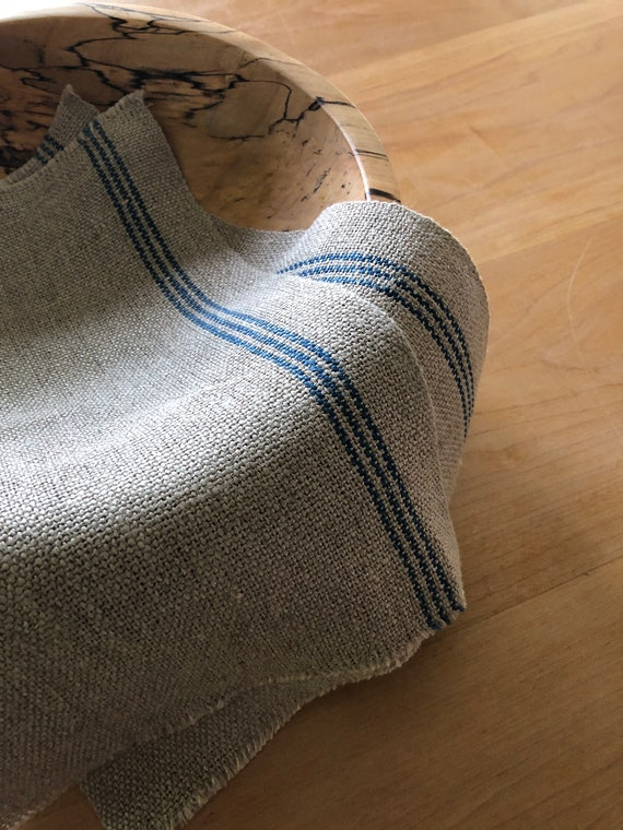 Handwoven Hemp Utility Cloth with Indigo Dyed Stripes
