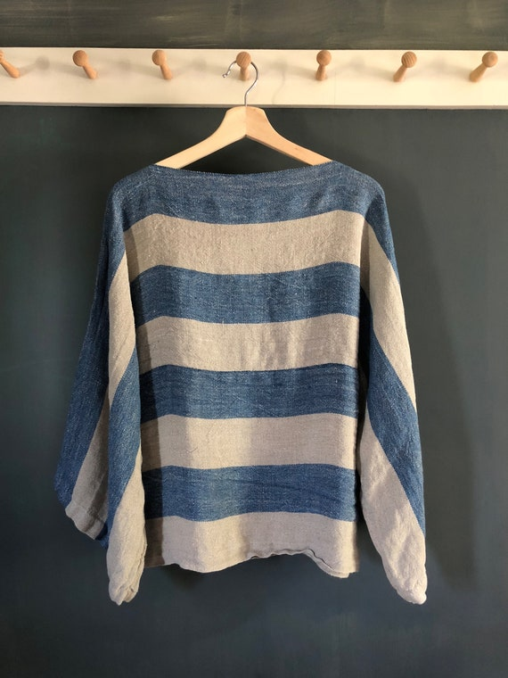 Handwoven Natural Linen and Indigo Dyed Hemp Striped Top