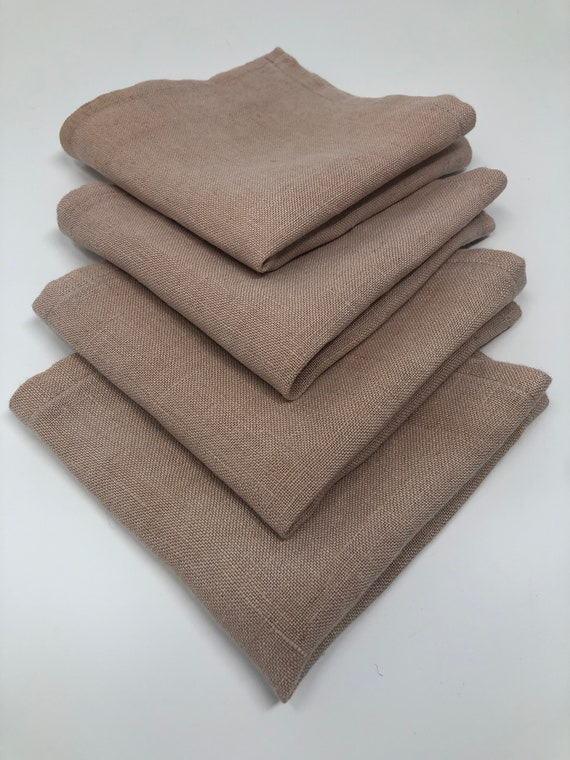 Organic Hemp Linen Avocado Dyed Napkins, Set of Four